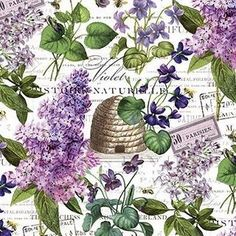 Chelsea - Feature Fabric, White - by Michel Design Works for Northcott - Sold by the Yard and Cut Continuous - In Stock and Ships Today Tudor Rose, Purple Lilac, Purple Flowers, Lavender Green, Bee Skep, Cotton Quilting Fabric, Bee Fabric, Floral Fabric, Fabric Design