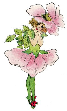 Graphics+Fairy+French | Vintage Fairy Image - Rose Flower Girl - The Graphics Fairy