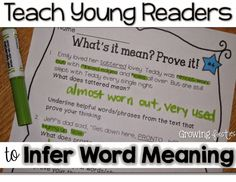 Infer Word Meaning - Cite Evidence - Find Proof For 1st, 2nd grade (intervention for 3rd grade)