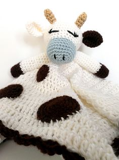 Baby Cow Lovey - crochet