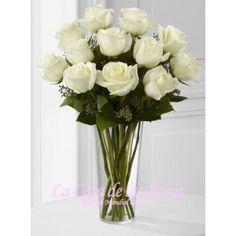 Rosas Blancas en Cristal - La Casa de las Rosas