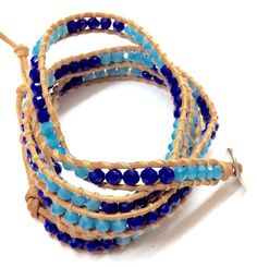 Light Brown Leather Wrap Bracelet With Dark Blue And Light Blue Color Crystal…