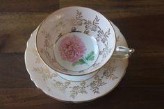 Paragon Tea Cup Saucer Chrysanthemum Pink Roses Mum Mums Gold Bone China England