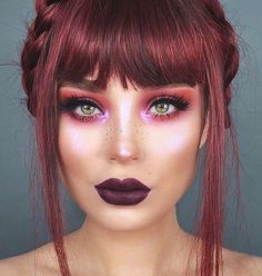 Unique bold fun makeup look - glowy iridescent highlight - Makeup Looks Classic Dye My Hair, New Hair, Beauty Makeup, Hair Beauty, Fun Makeup, Makeup Style, Red Hair Makeup, Red Hair Color, Grunge Hair