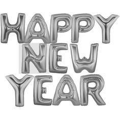 """Foil 14"""" Letter Balloons Saying Phrase Word Decor """"HAPPY NEW YEAR""""... ($20) ❤ liked on Polyvore featuring home, home decor, holiday decorations, silver home decor and silver home accessories"""