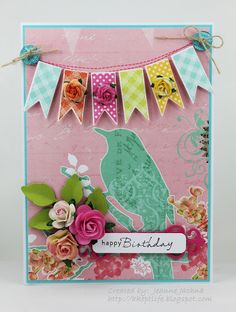 Jeanne Jachna: A Kept Life – Happy Birthday Kara! - 9/11/12.  (Dies: Spellbinder:s Fancy Framed Tags One, Nested Pennants, Fancy Tags, Foliage).   (Pin#1: Swags... Pin+: Birds...).