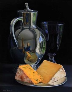 Still Life with Silver Jug, Wine and Cheeses