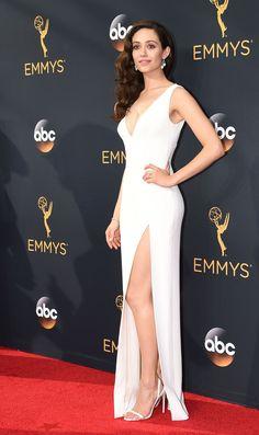 Emmy Rossum in Wes Gordon attends the Emmy Awards. #bestdressed