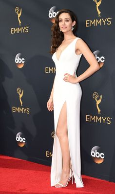 Emmy Rossum in Wes Gordon attends the Emmy Awards.