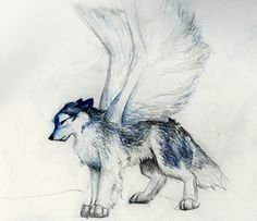 Blue Wolf with Wings | SciFi and Fantasy Art A *blue* wolf with wings. by Zoe prozann ...