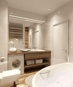 Nachrichten Laundry Room Bathroom, Narrow Bathroom, Laundry Room Design, Bathroom Toilets, Bathroom Layout, Bathroom Sinks, Modern Small Bathrooms, Modern Bathroom Design, Bathroom Interior Design