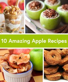 10 Amazing Apple Recipes for Fall, including healthy ideas for apple chips, mini cider donuts, mini apple pies, and more! #healthy #apple #recipes
