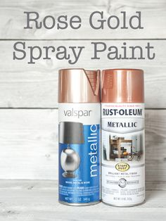 Lets talk rose gold spray paint colors! Valspar has a new rose gold color out. Rustoleum also has a copper metallic color that is really a rose gold shade.