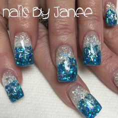 Glitter blue and white gel nails by Janee. A Wild Hair salon Reno, Nevada