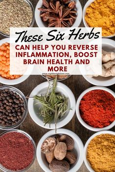 These Six Herbs Can Help You Reverse Inflammation, Boost Brain Health And More - New Ideas Cold Home Remedies, Natural Health Remedies, Herbal Remedies, Natural Cures, Natural Beauty, Cooking With Turmeric, Brain Health, Natural Healing, Healing Herbs