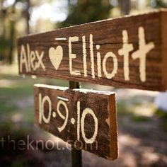 Wooden wedding sign. Could make now for save the date cards, and then at the wedding or reception.