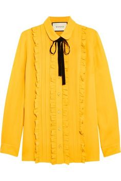 Gucci - Ruffled Silk Shirt - Mustard - IT40