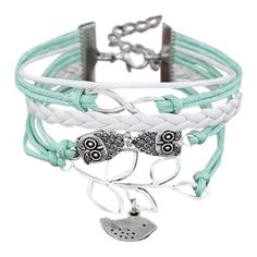 Owl Birdie Infinity Braided Bracelet Colormix ($2.76) ❤ liked on Polyvore featuring jewelry, bracelets, www.zaful.com, owl jewelry, woven bracelet, infinity jewelry, macrame bracelet and owl jewellery