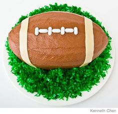 Football Birthday Cake Design    How to make a football birthday cake with a loaf cake. Easy, step-by-step recipe, diagrams and pictures. To get the football frosting just the right color, mix cocoa powder with a few drops of red food coloring.