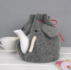 Elephant Tea Cosy, knitted from pure wool in Scotland, tea Cozy, elephant gift, perfect Tea lovers Gift! Ideal Christmas present Little Elephant, Cute Elephant, Elephant Gifts, Tea Cosy Knitting Pattern, Knitting Patterns, Scarf Patterns, Knitting Tutorials, Best Wedding Presents, Knitted Tea Cosies