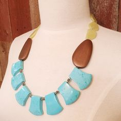 Architectural Geometric Necklace, Turquoise, Quartz and Wooden Bead Statement Necklace, Blue Green and Brown Necklace, Brightly Colored by ThirdAndCoStudio on Etsy https://www.etsy.com/listing/461916030/architectural-geometric-necklace