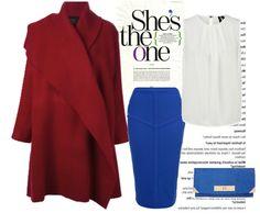 Осенний образ с красным пальто и синей юбкой, red and blue look