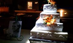 www.eventageouslighting.com - Event Lighting Services serving Oakland County & Metro Detroit area in Southeast Michigan! Pinspot your cake to draw attention! #wedding #pinspotting #weddingcake