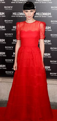 Rooney Mara in red lace Valentino at the Rome premiere of The Girl With the Dragon Tattoo, January 2012