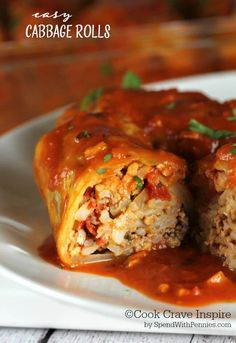 These easy cabbage rolls are the perfect comfort dish! Cabbage leaves stuffed with seasoned beef, pork & rice and baked in a delicious tomato sauce. (I would use ground beef only) Easy Cabbage Rolls, Baked Cabbage, Cabbage Roll Soup, Cabbage Rolls Recipe, Cabbage Recipes, Meat Recipes, Dinner Recipes, Cooking Recipes, German Food Recipes