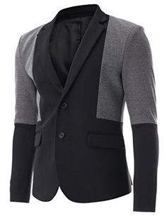 FLATSEVEN Mens Two Tone 2 Button Single Blazer Casual Jacket at Amazon Men's Clothing store: