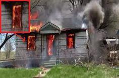 Bombeiro capta estranha imagem durante incêndio.