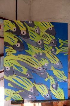 kids art. fish .acrylic