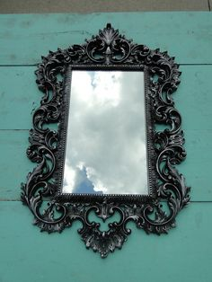 Large Ornate Vintage Mirror Wall Mirror Ornate by TRWpainted - Bathroom or walk-in closet. Goth Decor, House Styles, Gothic Furniture, Apartment Decor, Vintage, Vintage Mirror Wall, Mirror, Home Decor, Furniture Decor