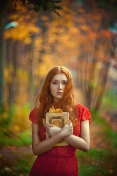 """Autumn fairy tale"" by Olga Gabsattarova... beautiful fall day, red haired girl with a book."