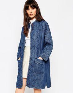 ASOS+Denim+Premium+Longline+Quilted+Jacket