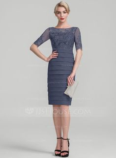 ecd97be199b Sheath Column Scoop Neck Knee-Length Chiffon Sequined Mother of the Bride  Dress (