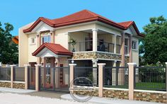 Contemporary House Plans Featuring Florante Model is a 4 bedroom with 3 toilet and bath 2 story house to fit perfectly on a 211 sq. 4 Bedroom House Designs, Bungalow House Design, Bedroom House Plans, Narrow Lot House Plans, Two Story House Plans, New House Plans, House Outside Design, House Front Design, Modern House Design