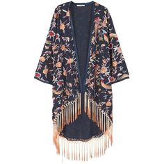 Fringed Embroidered Kaftan (£80) ❤ liked on Polyvore featuring tops, tunics, long oversized tops, caftan tunic, fringe tunic, long caftan and oversized tops