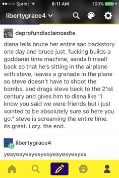 Why do I find this so hilarious and yet perfect? Except that the assumption here is that Diana is the same person she was in Bruce's era as she was in Steve's and she points out in the end that she has changed.