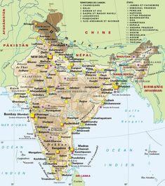 Montre moi tes trésors ! Srinagar, Amritsar, New Delhi, Karnataka, Chandigarh, Jaipur, Kerala, Pakistan, Tourist Map