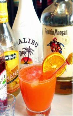 Bahama Mama Recipe    Ingredients:    ¾ ounce Coconut Rum (Malibu)    ¾ ounce Banana Liqueur (Hiram Walker)    1 ounce Spiced Rum (Captai...