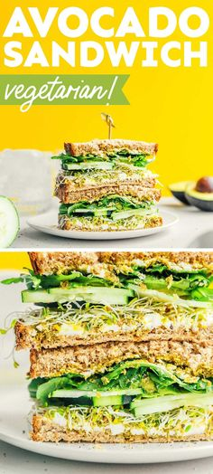 Give your body all of the greens with this Avocado Sandwich. It's made with cucumbers, sprouts, pesto, and goat cheese for maximum flavor and heartiness. It's a healthy vegetarian lunch that's perfect for meal prepping, picnics, or family lunch! Best Vegetarian Sandwiches, Avocado Sandwich Recipes, Vegetarian Tacos, Veggie Sandwich, Healthy Sandwiches, Healthy Recipes On A Budget, Vegetarian Recipes Easy, Lunch Recipes, Dinner Recipes