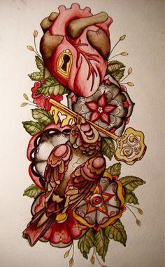 anatomical heart tat and key Key Tattoos, Love Tattoos, Unique Tattoos, Tatoos, Chris Garver, Deer Tattoo, Arm Tattoo, Tattoo Flash, Tattoo Signs
