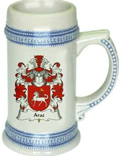 Araz Coat of Arms / Family Crest stein mug $22.99