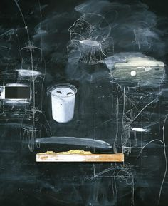 Vernon Fisher. Evidence of Houdini's Return, 1994, Oil, blackboard slating, wood, mixed media on Board
