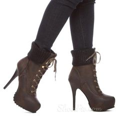 Concise Comfortable Platform Stiletto Heel Ankle Boots
