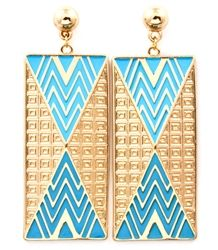 These unique, handmade earrings are hot and trendy, adding the perfect touch of style with their bold color. They have a fun and crazy abstract textured pattern, with triangles cut into long rectangles. $12.99