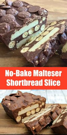 If you love Maltesers you'll love this no-bake chocolate slice with chunks of shortbread, Maltesers and Malteser Buttons Tray Bake Recipes, Fudge Recipes, Baking Recipes, Dessert Recipes, Malteser Recipes, Baking Dishes, Chocolate Slice, Chocolate Desserts, Chocolate Button Cake