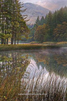 Loch Lubhair on a misty morning in Glen Dochart, Scotland