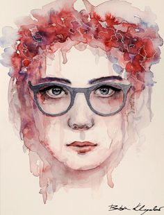 Girl with glasses and flowers  #watercolor #art #painting #watercolorpainting #flower #portrait